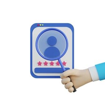 3d illustratie hand met vergrootglas en op zoek naar een kandidaat voor baan op witte achtergrond
