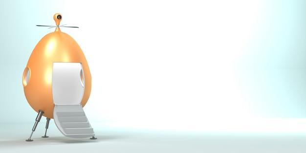 3d illustratie. het concept van het belachelijke vliegtuig van de toekomst.