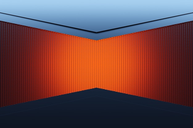 3d illustratie hoek van een rechthoekige kamer gemaakt van oranje honingraat.