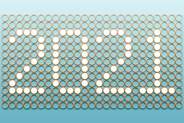 3d illustratie inscriptie 2021 van klein van witte vierkantjes op een pixelachtergrond.