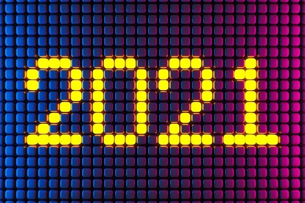 3d illustratie inscriptie 2021 van kleine gele blokjes op een neon achtergrond. illustratie van het symbool van het nieuwe jaar.