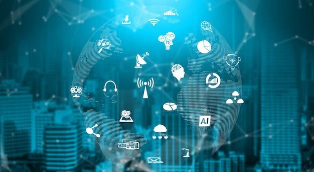 3d illustratie internationale communicatie en geavanceerd internetnetwerk.