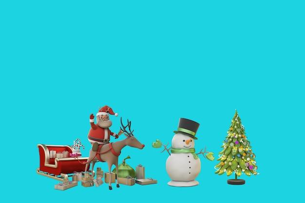 3d illustratie kerstdag met de kerstman