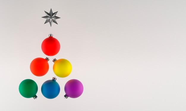 3d illustratie, kerstkaart, de trotskleuren van de kerstboomballen, copyspace