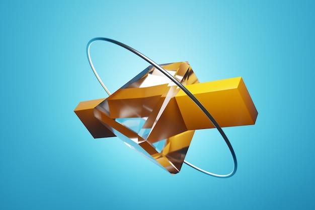 3d illustratie klassiek stilleven met gele geometrische vormen: parallellepipedum, kubus, ring