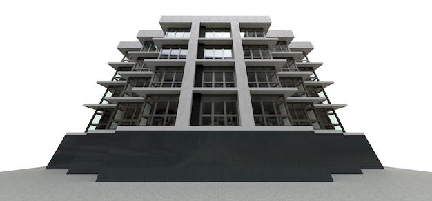 3d illustratie. klein wit-grijs condominium met lift en garage. 3d-rendering.
