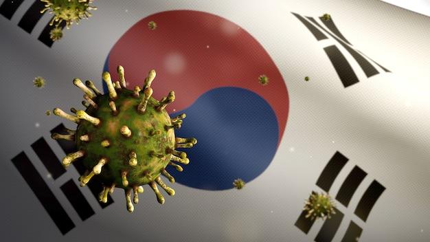 3d illustratie koreaanse vlag die zwaait met een uitbraak van het coronavirus die de luchtwegen infecteert als gevaarlijke griep. influenza type covid 19-virus met nationale vlag van zuid-korea op de achtergrond. pandemie