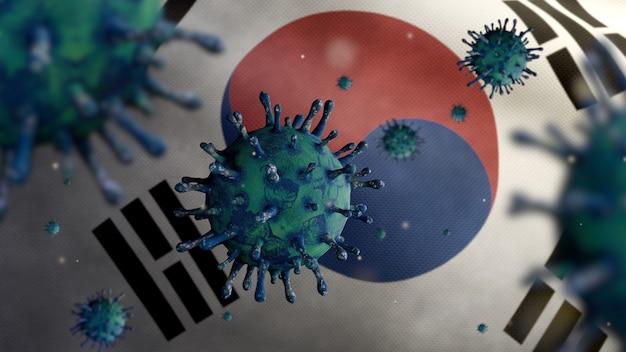 3d illustratie koreaanse vlag zwaaien en coronavirus 2019 ncov concept. aziatische uitbraak in zuid-korea, coronavirussen griep als gevaarlijke griepstamgevallen als pandemie. microscoopvirus covid 19