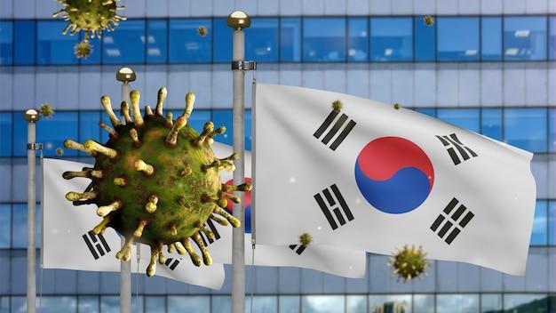 3d illustratie koreaanse vlag zwaaien op moderne wolkenkrabber stad met coronavirus 2019 ncov concept. mooie hoge toren en aziatische uitbraak in zuid-korea. microscoopvirus covid 19