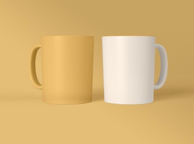3d illustratie. lege koffiemokken ontwerp mockup.