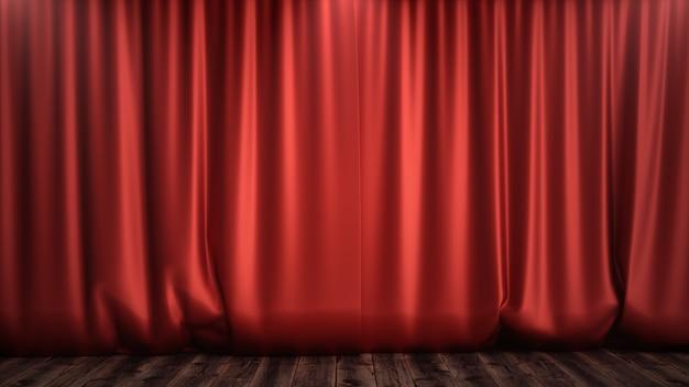 3d illustratie luxe rode zijde fluwelen gordijnen decoratie ontwerp, ideeën. red stage curtain voor theater of opera scene achtergrond. mock-up voor uw ontwerpproject