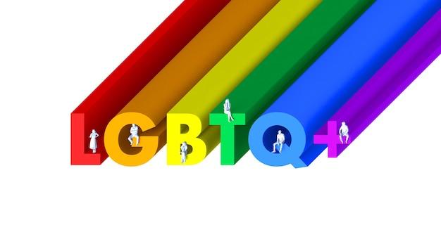 3d illustratie met de tekst lgbtq met mensen die op de letters zitten voor de viering van de trotsdag