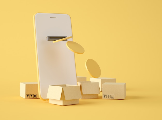 3d illustratie. mobiel betalen en online bestellen.