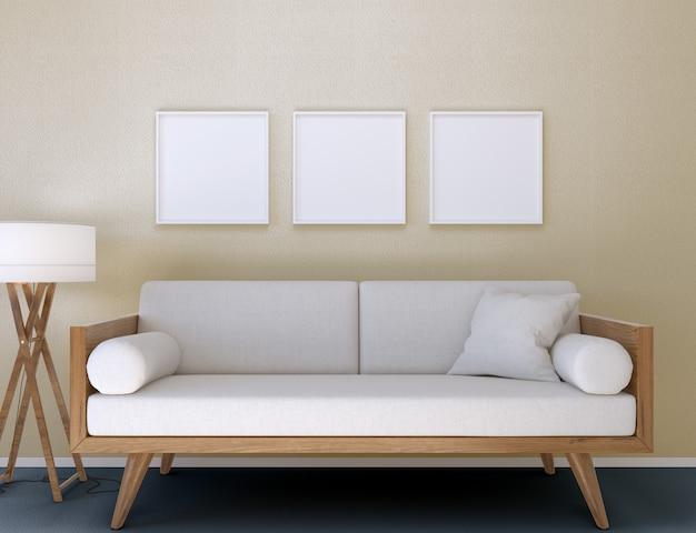3d illustratie. mockup van drie lege posterframes die aan de muur hangen in een moderne woonkamer.