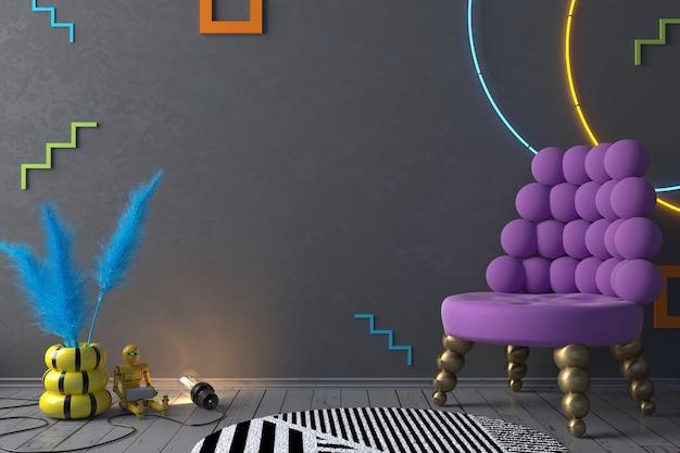 3d illustratie moderne memphis woonkamer en lila paarse fauteuil