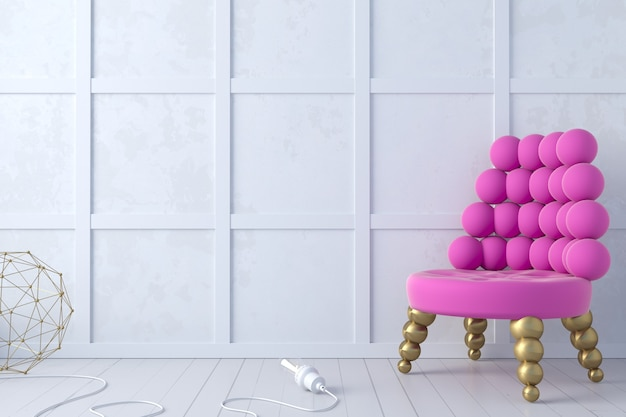 3d illustratie. moderne memphis woonkamer loft en lila paarse fauteuil. felle kleuren