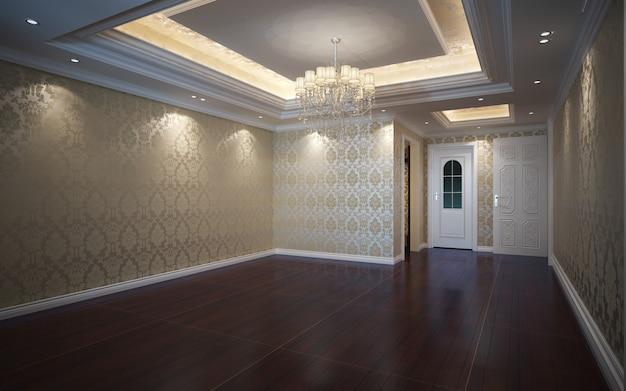 3d illustratie mooie lichte warme kamer, ingericht met parketvloer