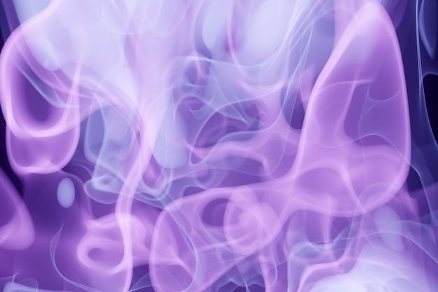 3d illustratie paarse abstracte rookwolk patroon op een zwarte geïsoleerde achtergrond