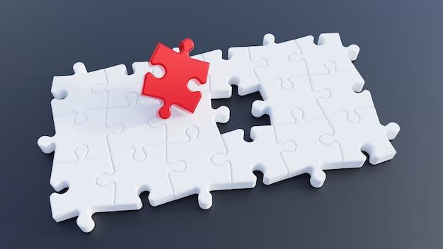 3d illustratie. puzzelstukken. rode puzzelstukje. 3d-rendering