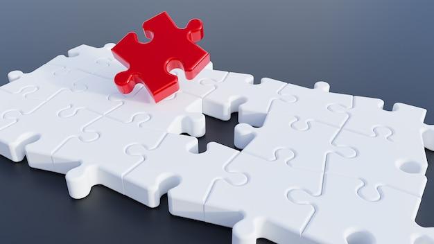 3d illustratie. puzzelstukken. rood puzzelstukje. 3d-weergave