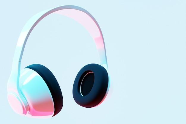 3d illustratie realistische witte draadloze koptelefoon geïsoleerd op een witte achtergrond
