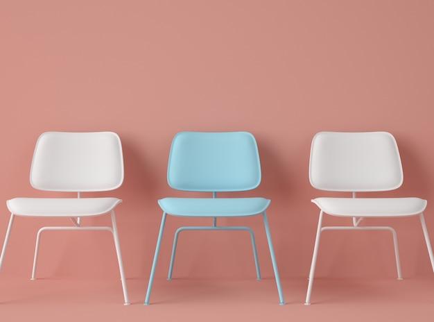 3d illustratie. rij stoelen met een met verschillende kleuren.