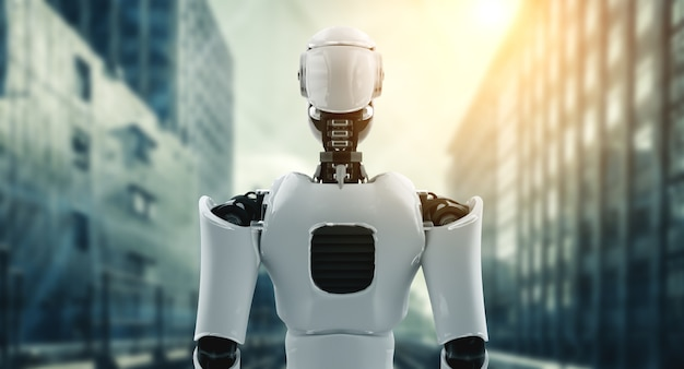 3d illustratie robot humanoïde die uitkijkt tegen de skyline van het stadsbeeld