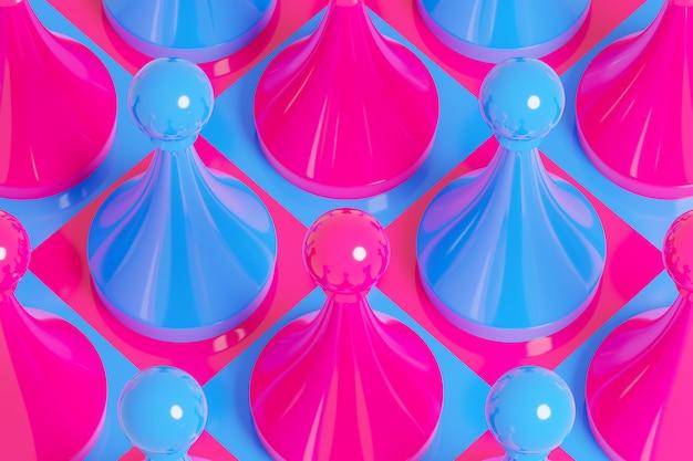 3d illustratie roze en blauw schaken, checkers op een schaakbord op een witte achtergrond.