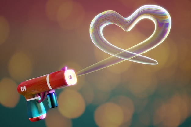 3d illustratie. schiethart bubbles-vorm van bubble gun