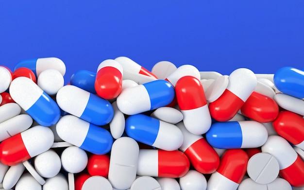 3d illustratie selectieve aandacht en macromening van medische pillen op witte achtergrond met exemplaarruimte