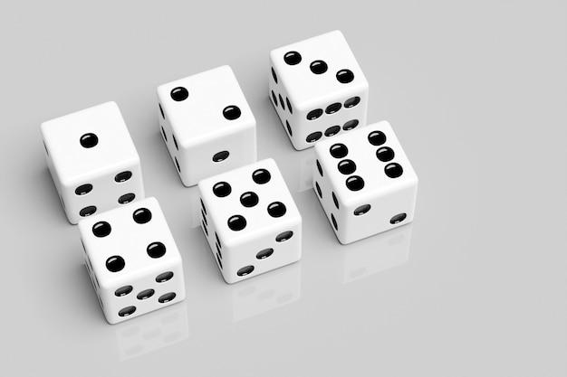 3d illustratie set spel dobbelstenen, geïsoleerd op een witte achtergrond. dobbelsteenontwerp van één tot zes.