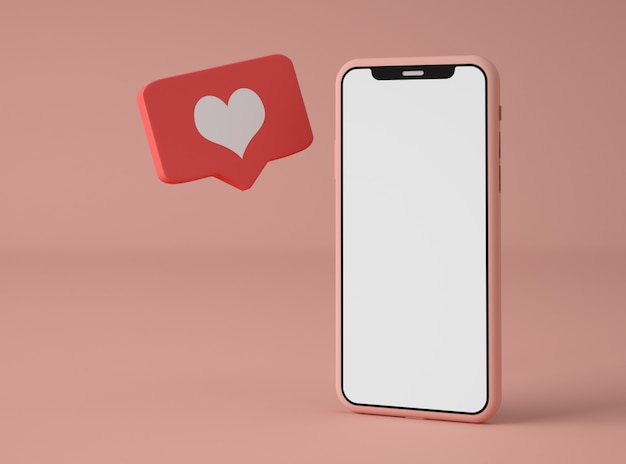 3d illustratie. smartphone met melding van sociale media.