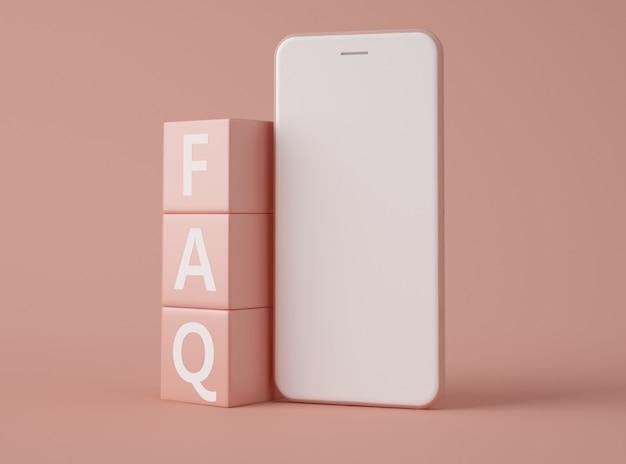 3d illustratie. smartphone met tekst faq.