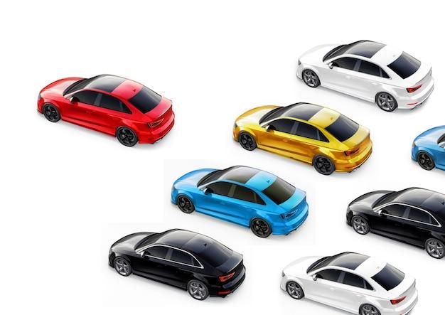 3d illustratie. sportwagens op een witte achtergrond. 3d-rendering.