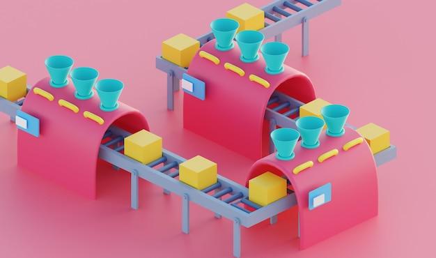 3d illustratie stroom fabrieksproces