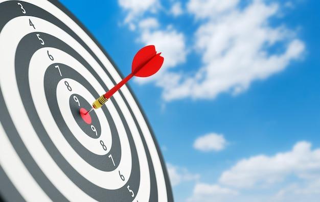 3d illustratie succes raken van doel rode rode dartpijlen in het doel
