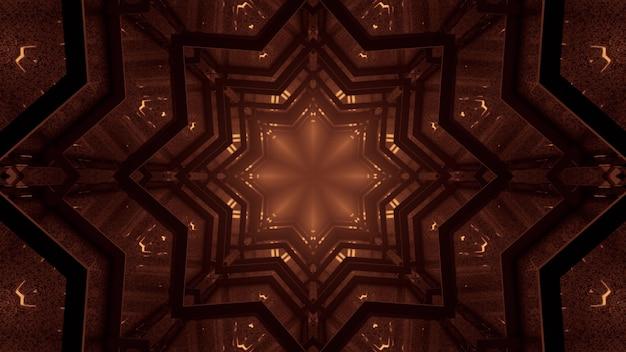 3d illustratie van 4k uhd abstracte achtergrond van caleidoscopische stervormige gang die met sepia licht gloeit