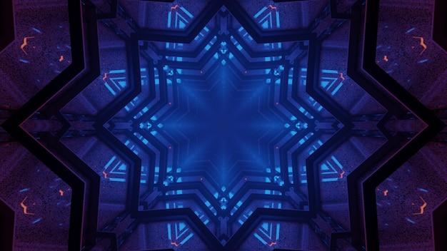 3d illustratie van 4k uhd abstracte achtergrond van caleidoscopische stervormige gang met gloeiend blauw neonlicht