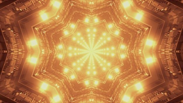 3d illustratie van 4k uhd abstracte achtergrond van caleidoscopische stervormige tunnel met helder sepia neonlicht