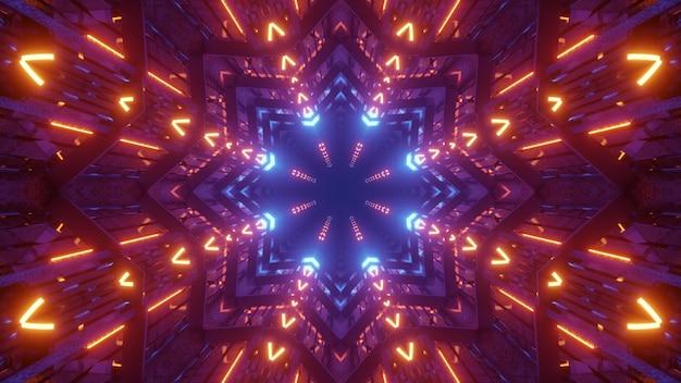 3d illustratie van 4k uhd abstracte achtergrond van futuristische tunnel in vorm van ster die met kleurrijke neonverlichting gloeit