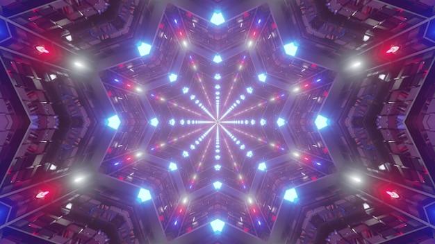 3d illustratie van 4k uhd abstracte achtergrond van heldere eindeloze stervormige tunnel in stijl van amerikaanse vlag verlicht door rode en blauwe neonkleuren