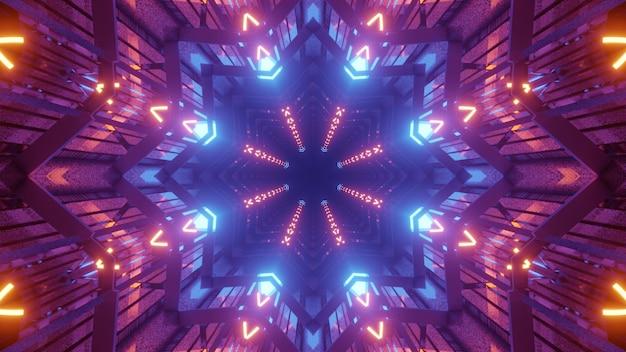 3d illustratie van 4k uhd abstracte achtergrond van sci fi stervormige tunnel met levendige gloeiende lichten