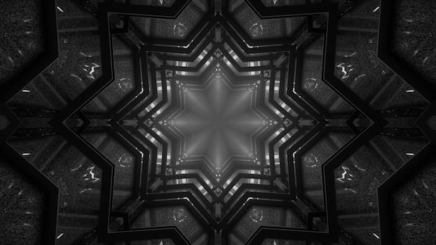 3d illustratie van 4k uhd abstracte achtergrond van sierstervormige tunnel met witte neonverlichting