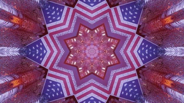 3d illustratie van 4k uhd abstracte achtergrond van siertunnel in vorm van ster ontworpen in stijl van amerikaanse vlag