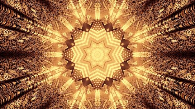 3d illustratie van 4k uhd abstracte achtergrond van tunnel in vorm van ster met amerikaans nationaal vlagontwerp