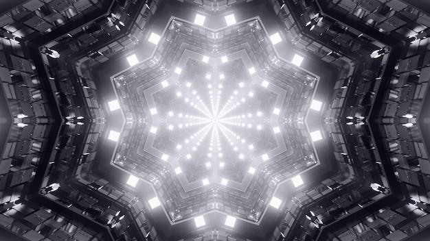 3d illustratie van 4k uhd abstracte achtergrond van zwart-witte geometrische stervormige gang met levendig neonlicht