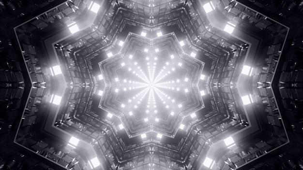 3d illustratie van 4k uhd abstracte achtergrond van zwart-witte geometrische stervormige tunnel met felle neonverlichting