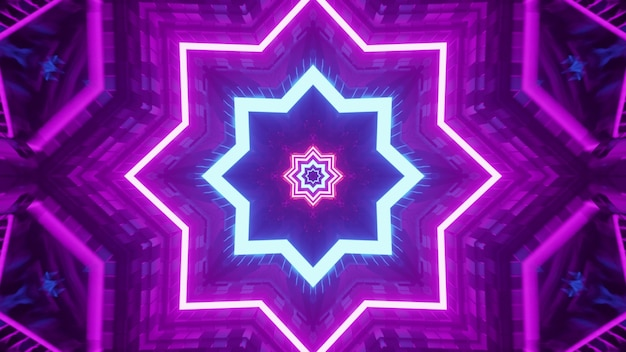 3d illustratie van 4k uhd neon stervormig ornament dat abstracte tunnel verlicht met paarse en blauwe neonlichten
