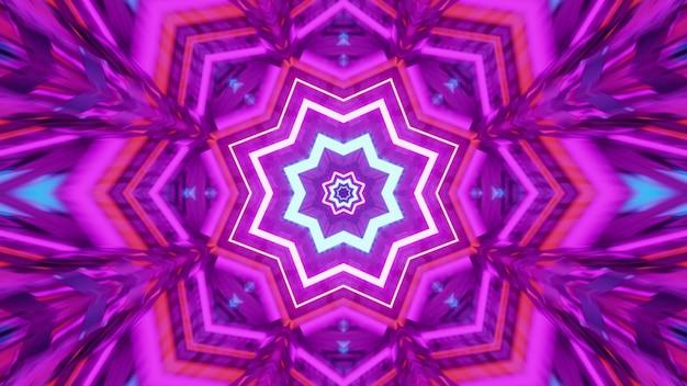3d illustratie van 4k uhd symmetrisch stervormig psychedelisch ornament dat schijnt met fel neonlicht