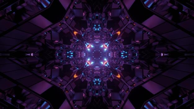 3d illustratie van abstracte achtergrond van caleidoscopische donkere tunnel die met neonverlichting gloeit
